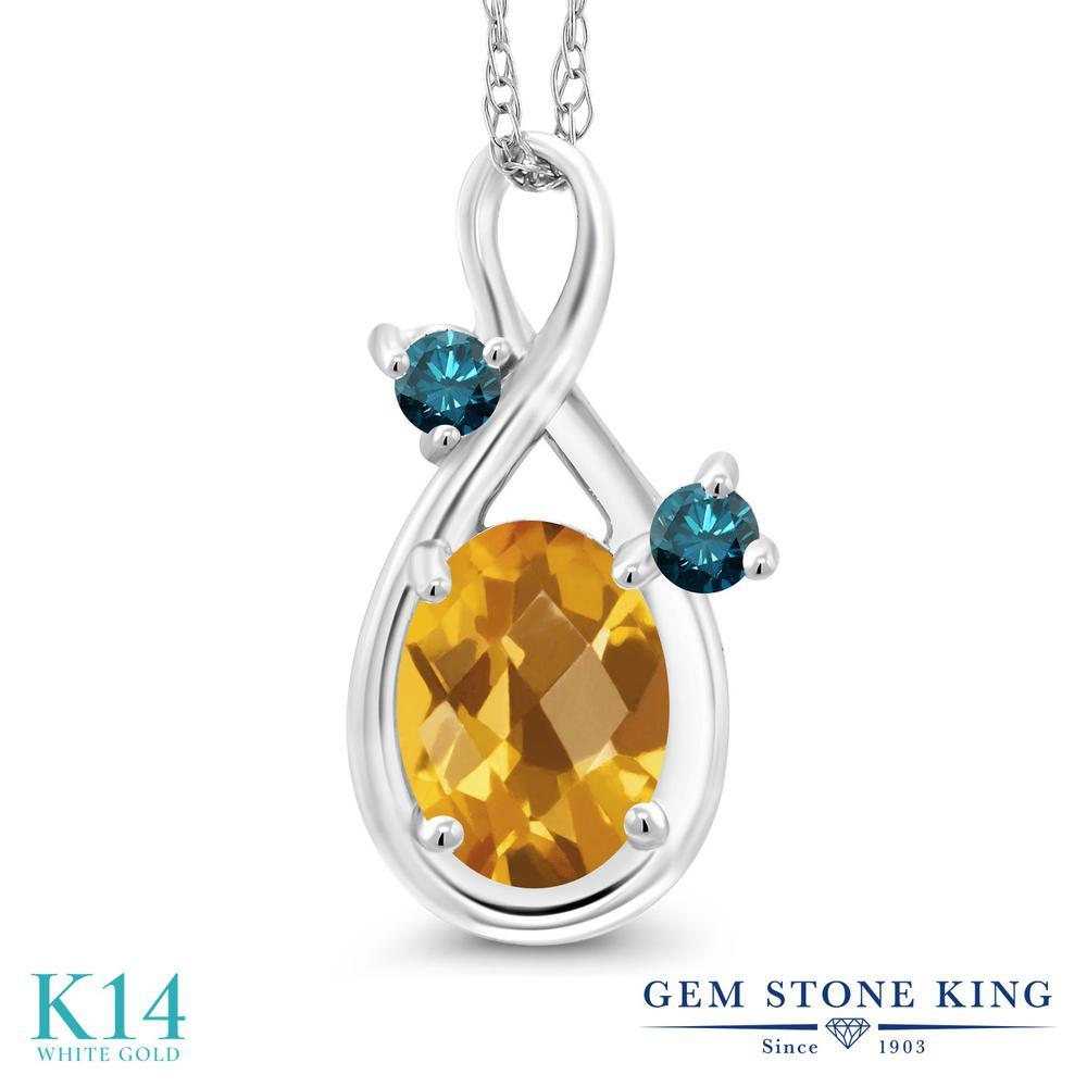 Gem Stone King 0.77カラット 天然 シトリン 天然 ブルーダイヤモンド 14金 ホワイトゴールド(K14) ネックレス ペンダント レディース シンプル 天然石 11月 誕生石 金属アレルギー対応 誕生日プレゼント