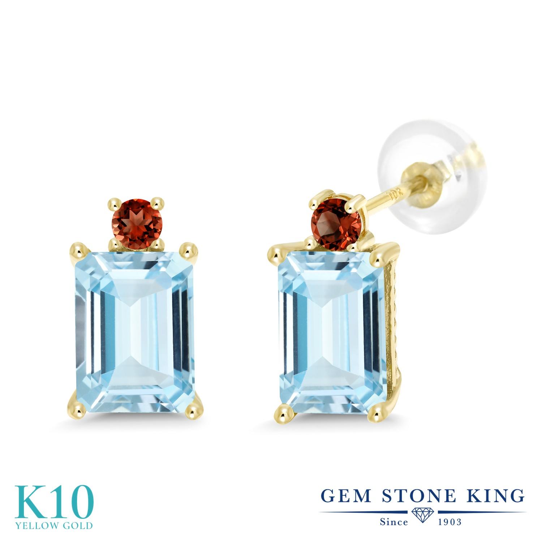 Gem Stone King 2.98カラット 天然 アクアマリン 天然 ガーネット 10金 イエローゴールド(K10) ピアス レディース 大粒 スタッド 天然石 3月 誕生石 金属アレルギー対応 誕生日プレゼント