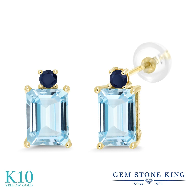 Gem Stone King 3カラット 天然 アクアマリン 天然 サファイア 10金 イエローゴールド(K10) ピアス レディース 大粒 スタッド 天然石 3月 誕生石 金属アレルギー対応 誕生日プレゼント