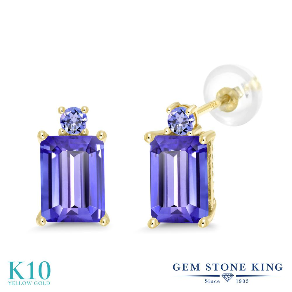 Gem Stone King 3.96カラット 天然石 タンザナイト 10金 イエローゴールド(K10) ピアス レディース 大粒 スタッド 天然石 12月 誕生石 金属アレルギー対応 誕生日プレゼント