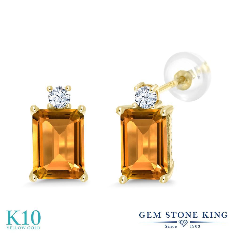 Gem Stone King 3.1カラット 天然 シトリン 合成ホワイトサファイア (ダイヤのような無色透明) 10金 イエローゴールド(K10) ピアス レディース 大粒 スタッド 天然石 11月 誕生石 金属アレルギー対応 誕生日プレゼント