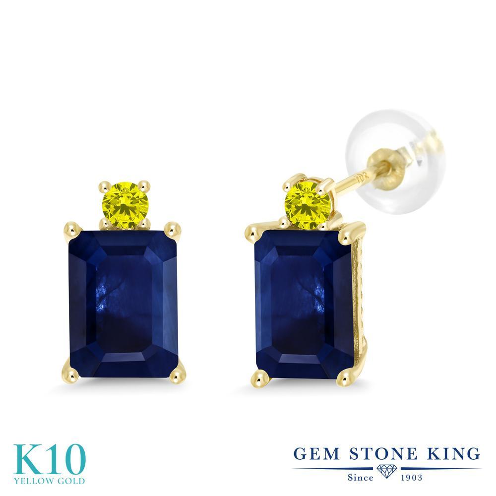 Gem Stone King 2.55カラット 天然 サファイア 天然 イエローダイヤモンド 10金 イエローゴールド(K10) ピアス レディース 大粒 スタッド 天然石 9月 誕生石 金属アレルギー対応 誕生日プレゼント