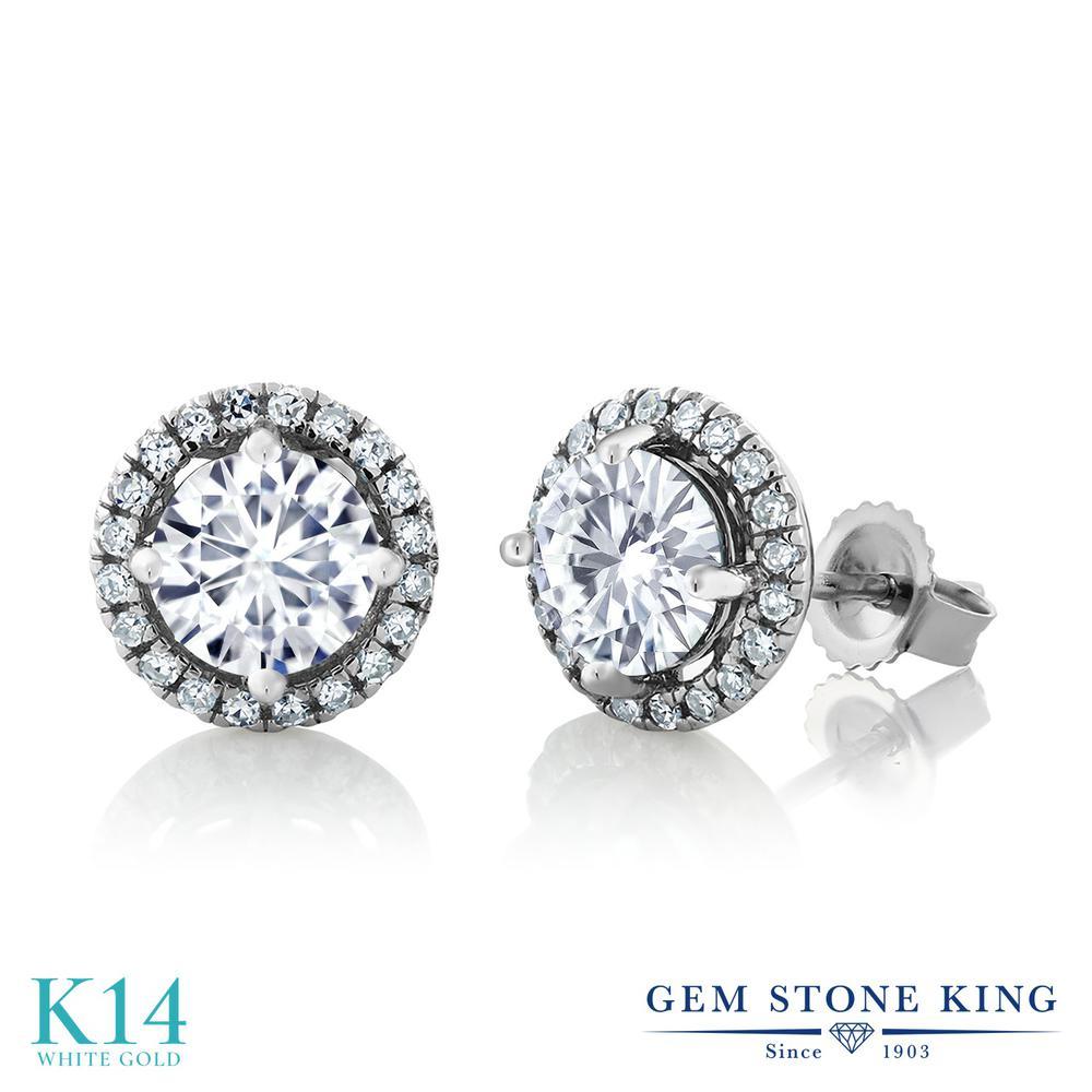Gem Stone King 1.6カラット Forever One GHI モアッサナイト Charles & Colvard 14金 ホワイトゴールド(K14) ピアス レディース 誕生日プレゼント