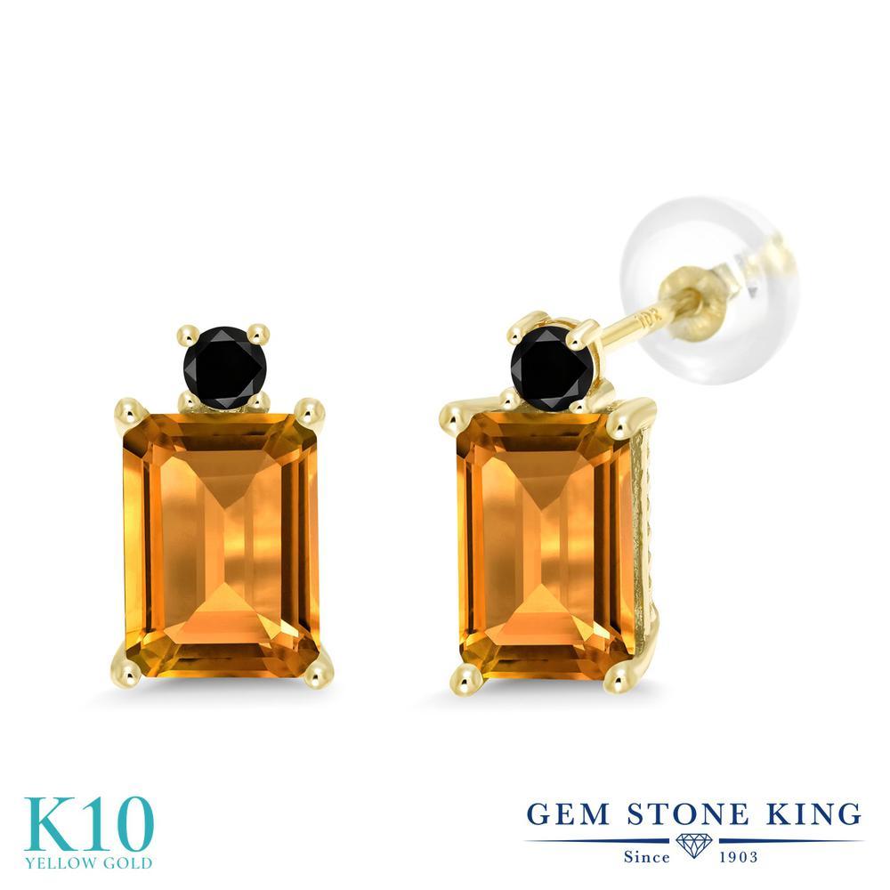 Gem Stone King 3.13カラット 天然 シトリン 天然ブラックダイヤモンド 10金 イエローゴールド(K10) ピアス レディース 大粒 スタッド 天然石 11月 誕生石 金属アレルギー対応 誕生日プレゼント