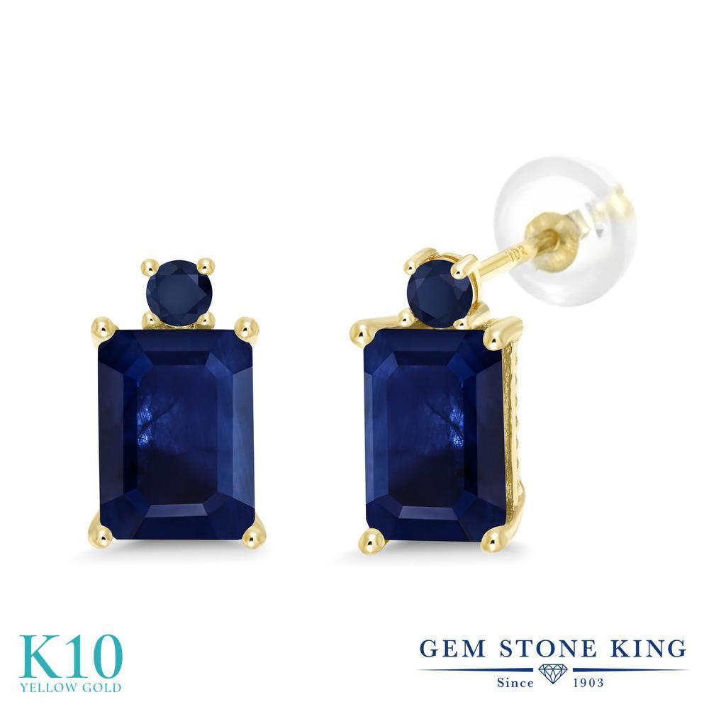 Gem Stone King 2.62カラット 天然 サファイア 10金 イエローゴールド(K10) ピアス レディース 大粒 スタッド 天然石 9月 誕生石 金属アレルギー対応 誕生日プレゼント