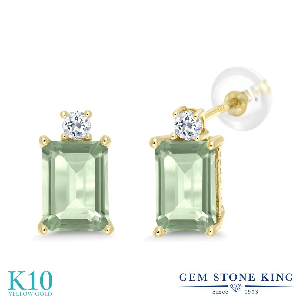 Gem Stone King 3.16カラット 天然 プラジオライト (グリーンアメジスト) 天然 トパーズ (無色透明) 10金 イエローゴールド(K10) ピアス レディース 大粒 スタッド 天然石 金属アレルギー対応 誕生日プレゼント