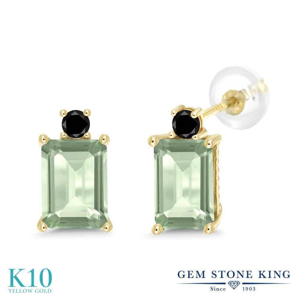Gem Stone King 3.13カラット 天然 プラジオライト (グリーンアメジスト) 天然ブラックダイヤモンド 10金 イエローゴールド(K10) ピアス レディース 大粒 スタッド 天然石 金属アレルギー対応 誕生日プレゼント