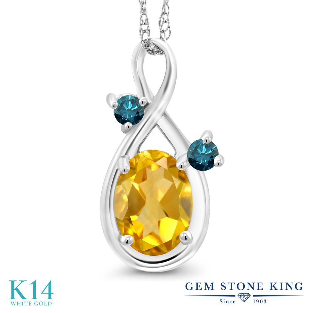 Gem Stone King 0.67カラット 天然 シトリン 天然 ブルーダイヤモンド 14金 ホワイトゴールド(K14) ネックレス ペンダント レディース シンプル 天然石 11月 誕生石 金属アレルギー対応 誕生日プレゼント
