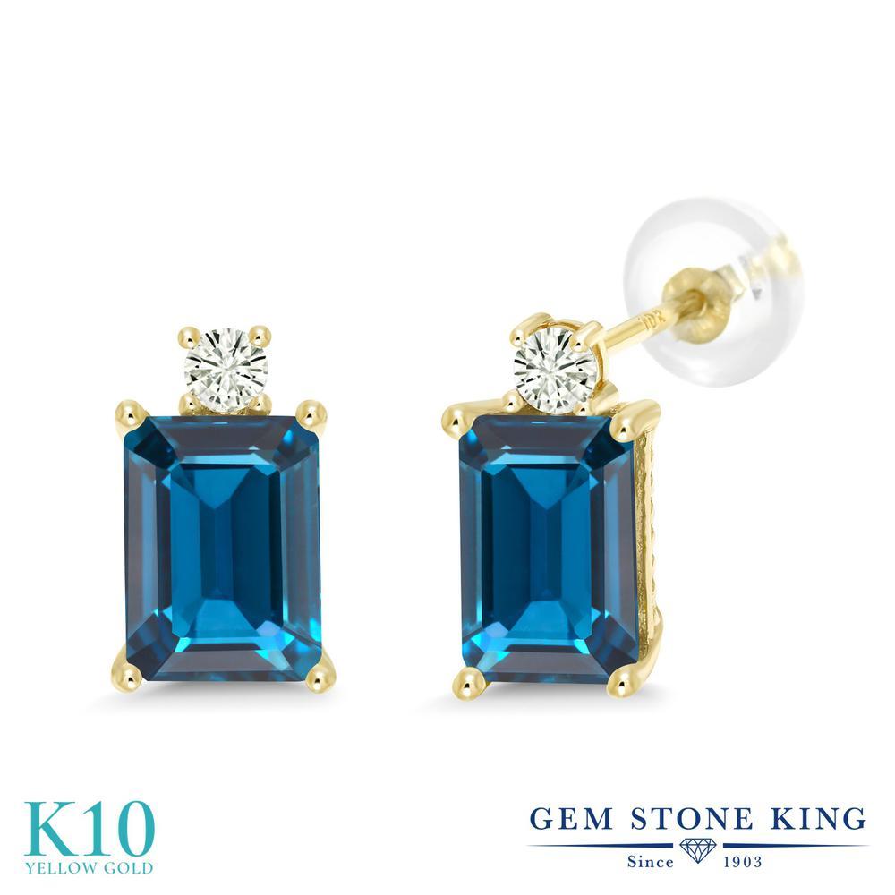 Gem Stone King 4.02カラット 天然 ロンドンブルートパーズ モアサナイト Charles & Colvard 10金 イエローゴールド(K10) ピアス レディース 大粒 スタッド 天然石 11月 誕生石 金属アレルギー対応 誕生日プレゼント