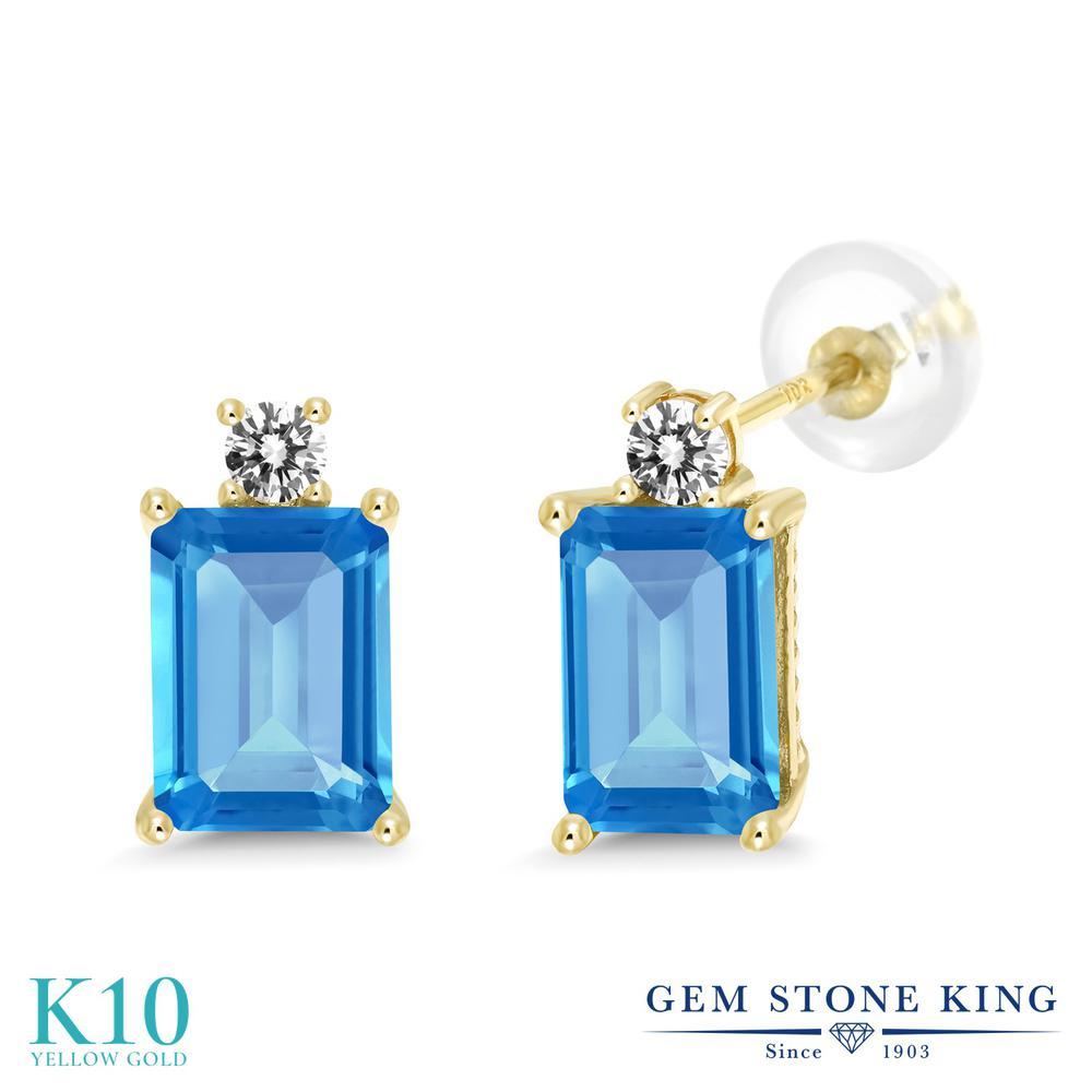 Gem Stone King 3.93カラット 天然 スイスブルートパーズ 天然 ダイヤモンド 10金 イエローゴールド(K10) ピアス レディース 大粒 スタッド 天然石 11月 誕生石 金属アレルギー対応 誕生日プレゼント