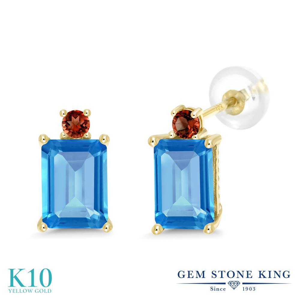 Gem Stone King 3.98カラット 天然 スイスブルートパーズ 天然 ガーネット 10金 イエローゴールド(K10) ピアス レディース 大粒 スタッド 天然石 11月 誕生石 金属アレルギー対応 誕生日プレゼント