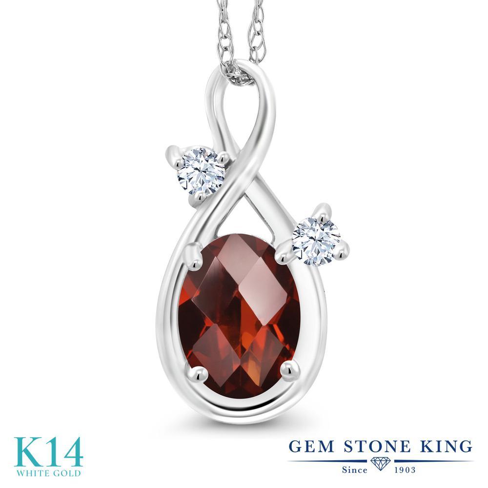 Gem Stone King 0.88カラット 天然 ガーネット 合成ホワイトサファイア (ダイヤのような無色透明) 14金 ホワイトゴールド(K14) ネックレス ペンダント レディース シンプル 天然石 1月 誕生石 金属アレルギー対応 誕生日プレゼント