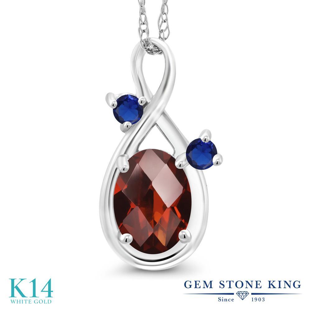 Gem Stone King 0.89カラット 天然 ガーネット 14金 ホワイトゴールド(K14) ネックレス ペンダント レディース シンプル 天然石 1月 誕生石 金属アレルギー対応 誕生日プレゼント