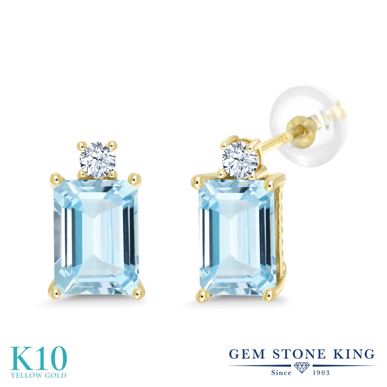 Gem Stone King 2.9カラット 天然 アクアマリン 合成ホワイトサファイア (ダイヤのような無色透明) 10金 イエローゴールド(K10) ピアス レディース 大粒 スタッド 天然石 3月 誕生石 金属アレルギー対応 誕生日プレゼント