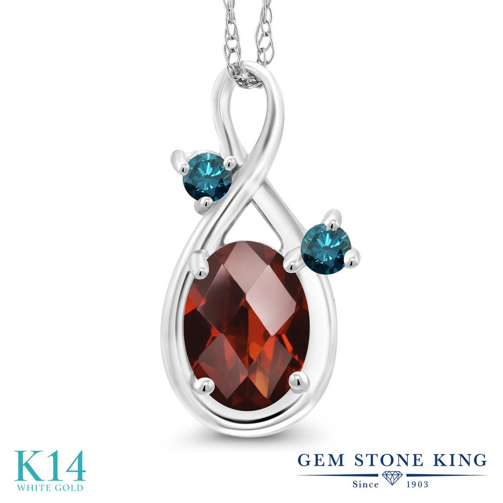 Gem Stone King 0.87カラット 天然 ガーネット 天然 ブルーダイヤモンド 14金 ホワイトゴールド(K14) ネックレス ペンダント レディース シンプル 天然石 1月 誕生石 金属アレルギー対応 誕生日プレゼント