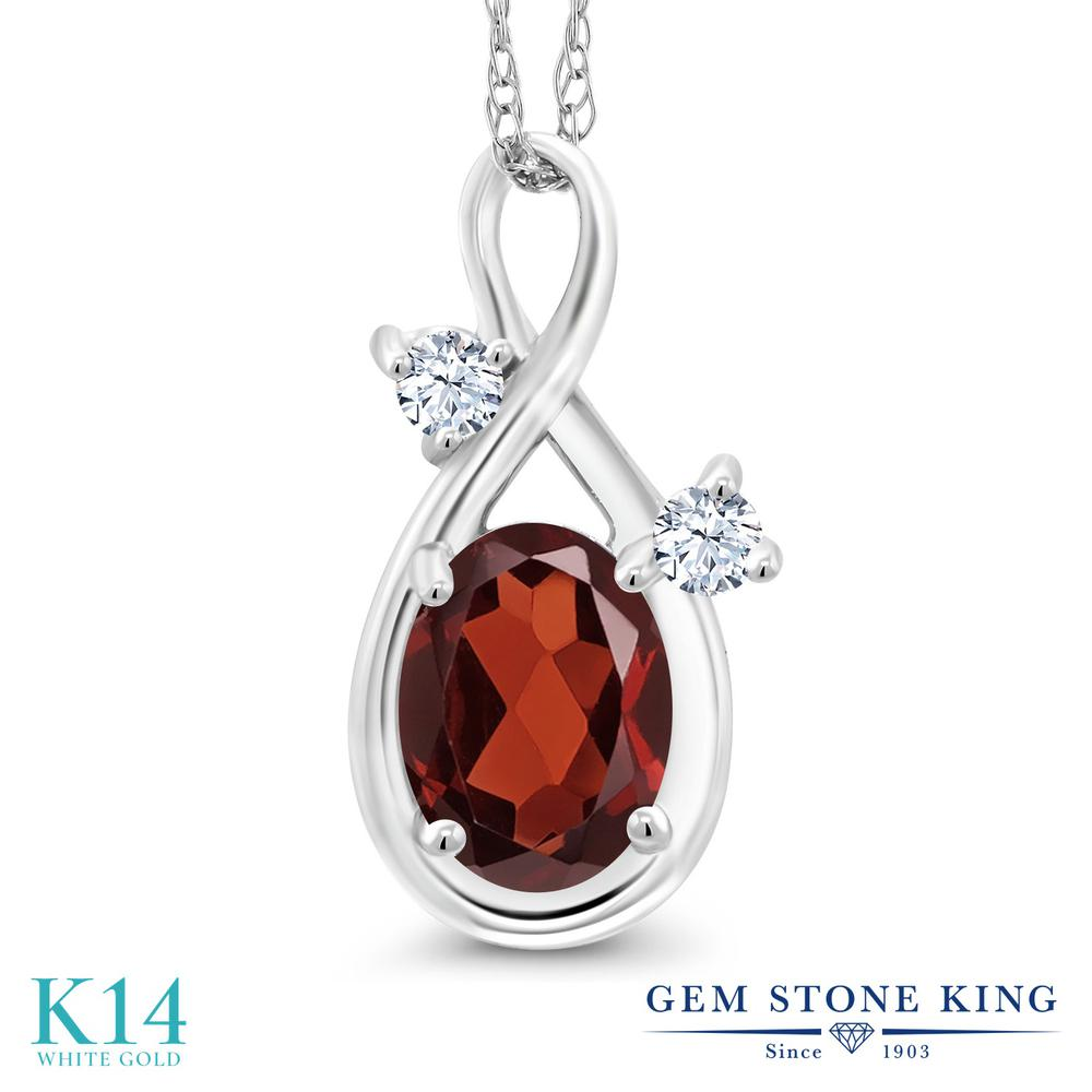 Gem Stone King 0.98カラット 天然 ガーネット 合成ホワイトサファイア (ダイヤのような無色透明) 14金 ホワイトゴールド(K14) ネックレス ペンダント レディース シンプル 天然石 1月 誕生石 金属アレルギー対応 誕生日プレゼント