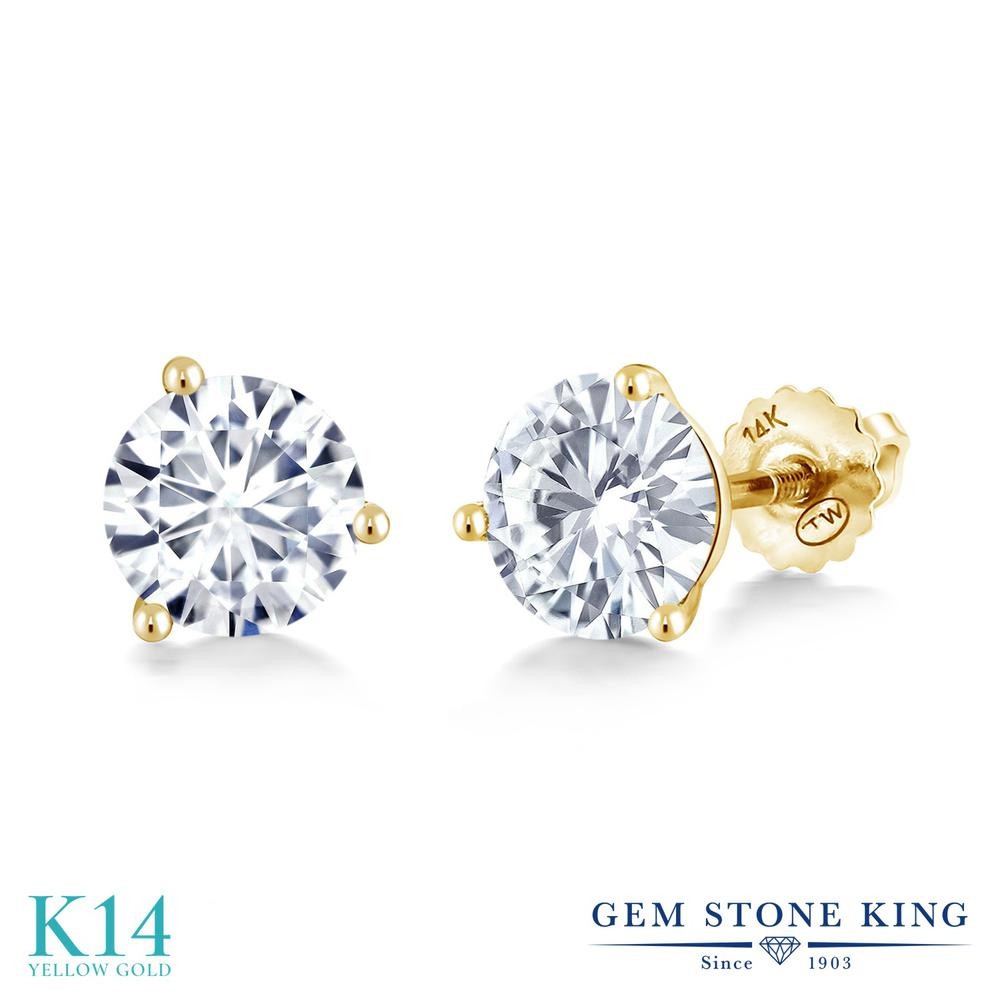 Gem Stone King 1.6カラット Forever One GHI モアッサナイト Charles & Colvard 14金 イエローゴールド(K14) ピアス レディース モアサナイト シンプル スタッド スクリュー 金属アレルギー対応 誕生日プレゼント, FRAGILE bed4851b