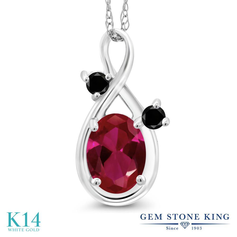 Gem Stone King 0.97カラット 合成ルビー 天然ブラックダイヤモンド 14金 ホワイトゴールド(K14) ネックレス ペンダント レディース シンプル 金属アレルギー対応 誕生日プレゼント