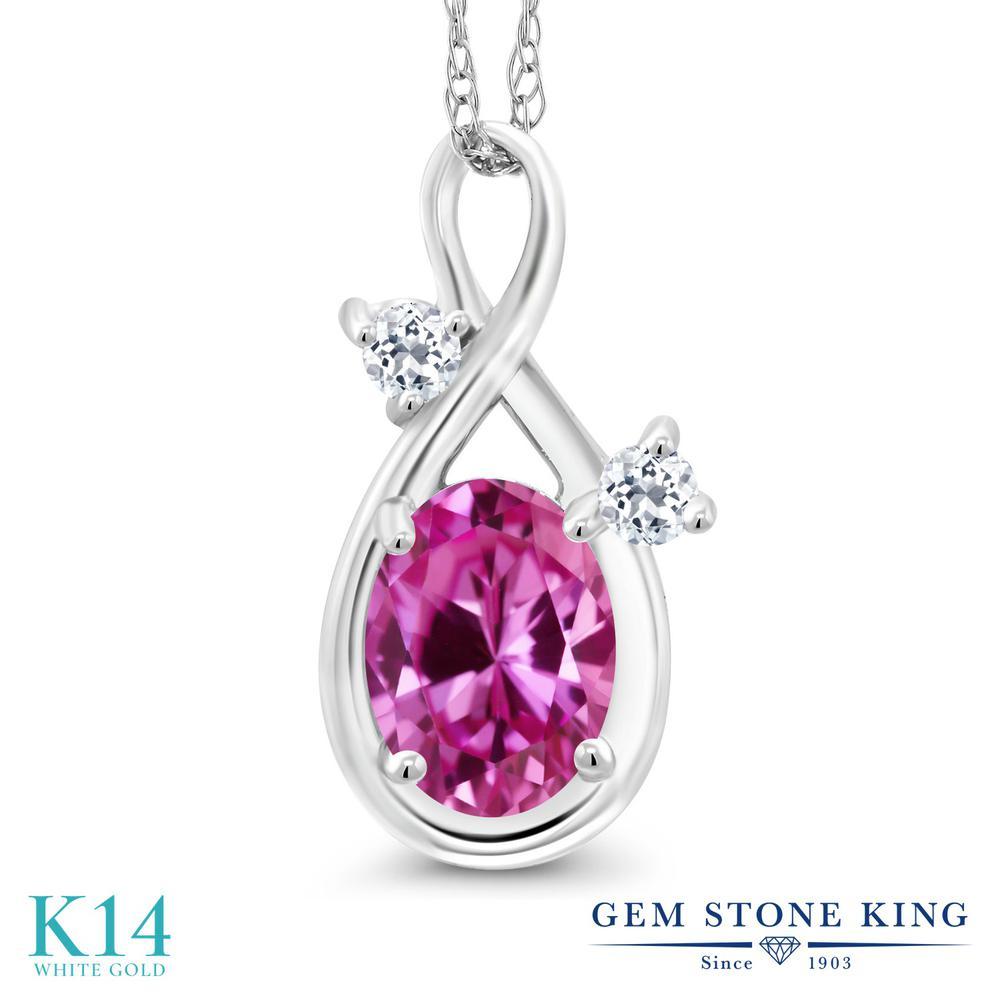 Gem Stone King 0.98カラット 合成ピンクサファイア 天然 トパーズ (無色透明) 14金 ホワイトゴールド(K14) ネックレス ペンダント レディース シンプル 金属アレルギー対応 誕生日プレゼント