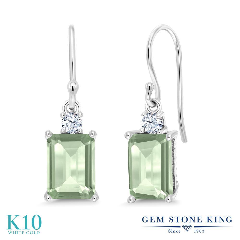 Gem Stone King 3.1カラット 天然 プラジオライト (グリーンアメジスト) 合成ホワイトサファイア (ダイヤのような無色透明) 10金 ホワイトゴールド(K10) ピアス レディース 大粒 ぶら下がり フレンチワイヤー 天然石 金属アレルギー対応 誕生日プレゼント