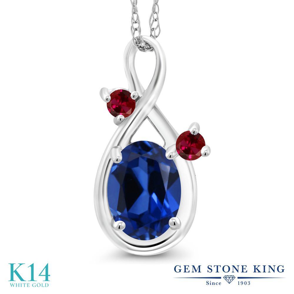 Gem Stone King 1カラット シミュレイテッド サファイア 合成ルビー 14金 ホワイトゴールド(K14) ネックレス ペンダント レディース シンプル 金属アレルギー対応 誕生日プレゼント