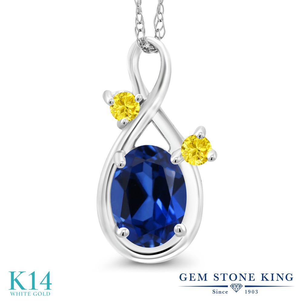 Gem Stone King 1カラット シミュレイテッド サファイア 合成イエローサファイア 14金 ホワイトゴールド(K14) ネックレス ペンダント レディース シンプル 金属アレルギー対応 誕生日プレゼント