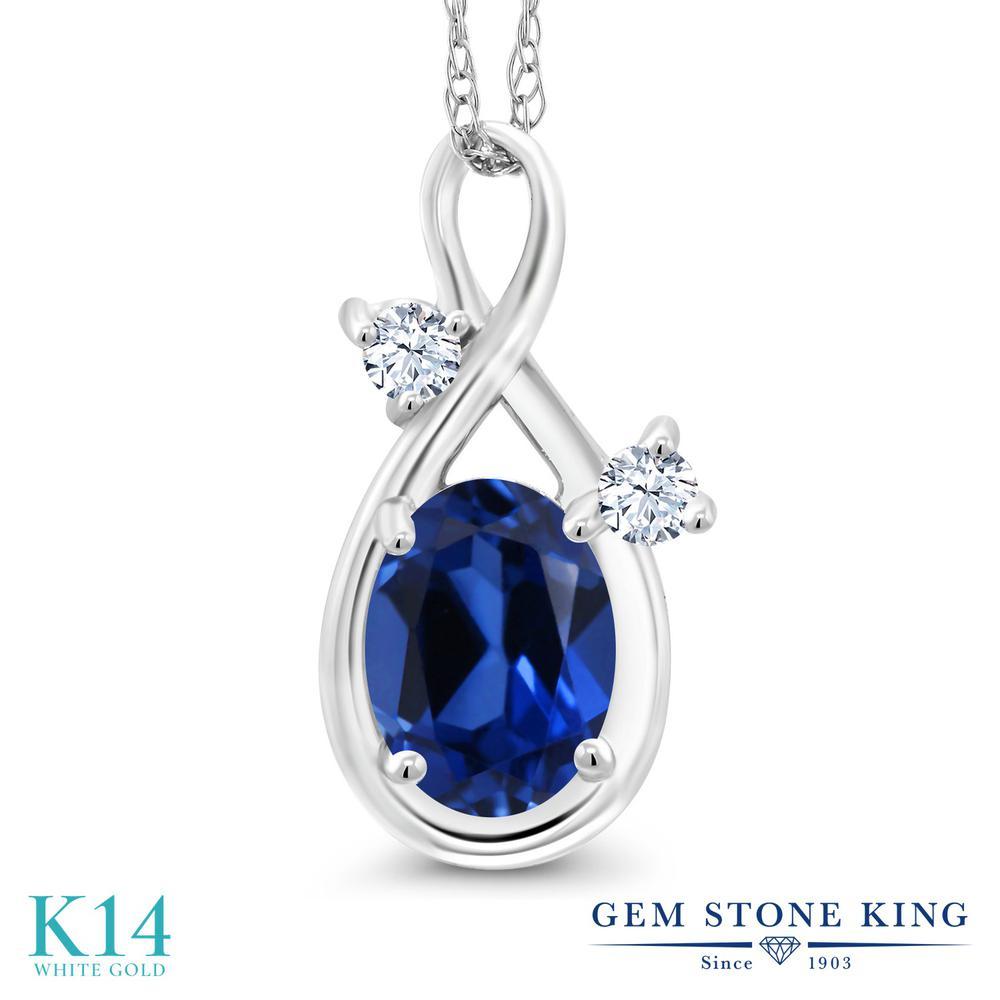 Gem Stone King 0.98カラット シミュレイテッド サファイア 合成ホワイトサファイア (ダイヤのような無色透明) 14金 ホワイトゴールド(K14) ネックレス ペンダント レディース シンプル 金属アレルギー対応 誕生日プレゼント