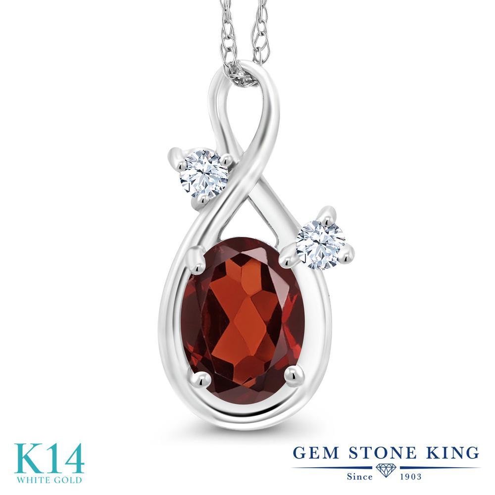 Gem Stone King 0.96カラット 天然 ガーネット 14金 ホワイトゴールド(K14) ネックレス ペンダント レディース シンプル 天然石 1月 誕生石 金属アレルギー対応 誕生日プレゼント