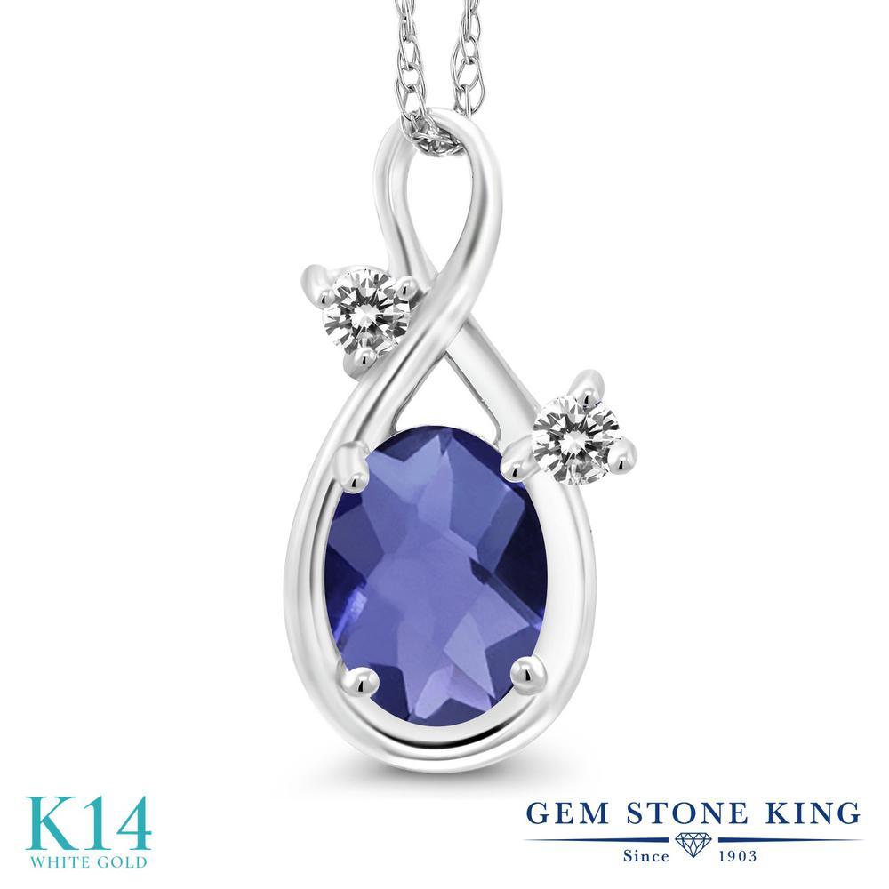 Gem Stone King 0.72カラット 天然 アイオライト (ブルー) 天然 ダイヤモンド 14金 ホワイトゴールド(K14) ネックレス ペンダント レディース シンプル 天然石 金属アレルギー対応 誕生日プレゼント