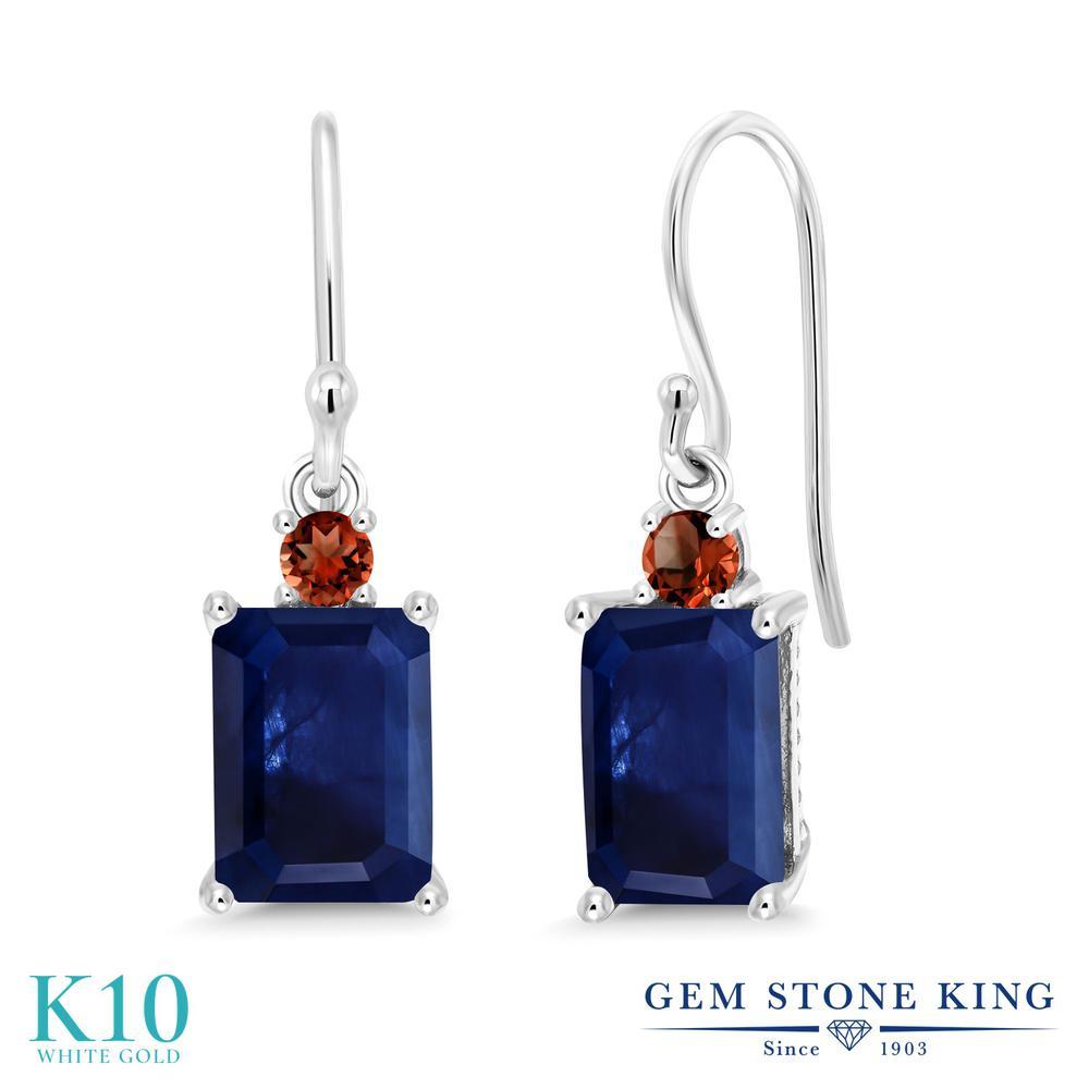 Gem Stone King 2.6カラット 天然 サファイア 天然 ガーネット 10金 ホワイトゴールド(K10) ピアス レディース 大粒 ぶら下がり フレンチワイヤー 天然石 9月 誕生石 金属アレルギー対応 誕生日プレゼント