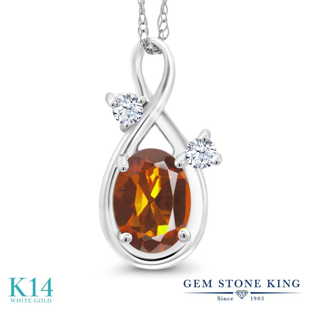 Gem Stone King 0.78カラット 天然 マデイラシトリン (オレンジレッド) 合成ホワイトサファイア (ダイヤのような無色透明) 14金 ホワイトゴールド(K14) ネックレス ペンダント レディース シンプル 天然石 金属アレルギー対応 誕生日プレゼント