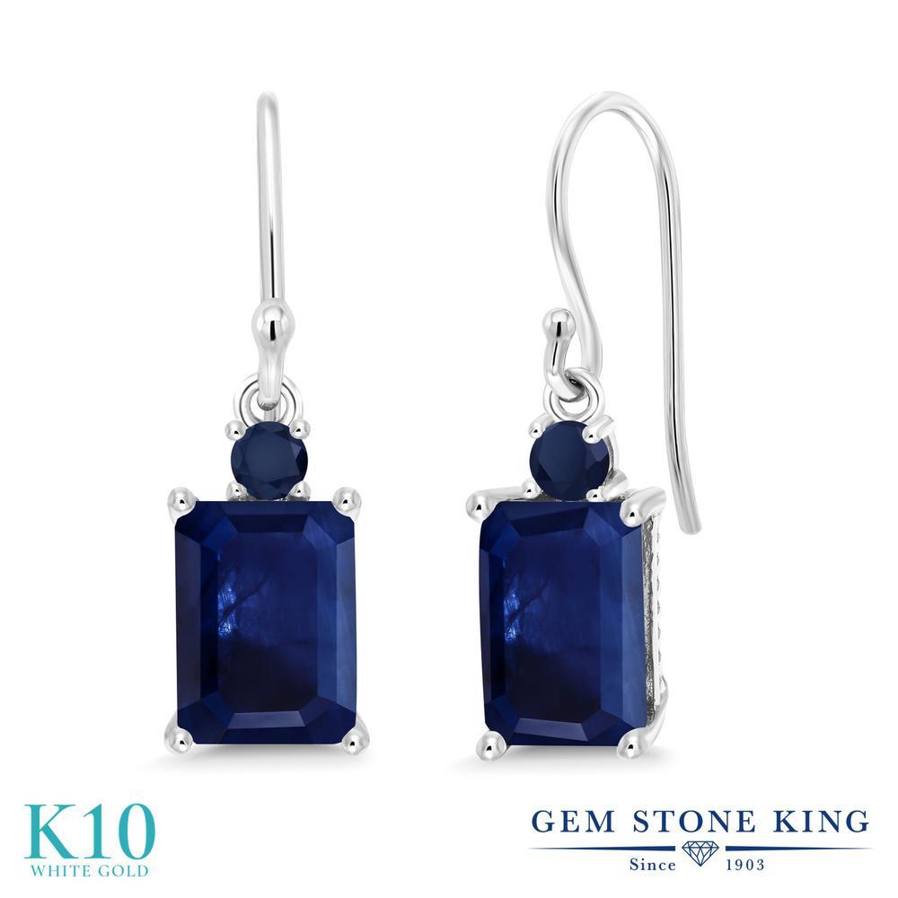 Gem Stone King 2.62カラット 天然 サファイア 10金 ホワイトゴールド(K10) ピアス レディース 大粒 ぶら下がり フレンチワイヤー 天然石 9月 誕生石 金属アレルギー対応 誕生日プレゼント