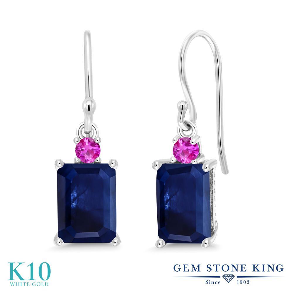 Gem Stone King 2.58カラット 天然 サファイア ピンクサファイア 10金 ホワイトゴールド(K10) ピアス レディース 大粒 ぶら下がり フレンチワイヤー 天然石 9月 誕生石 金属アレルギー対応 誕生日プレゼント