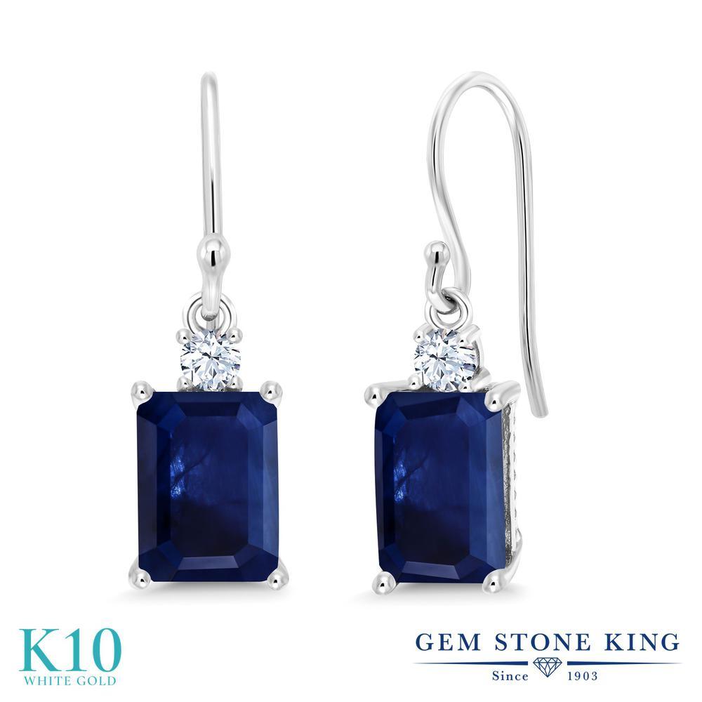 Gem Stone King 2.52カラット 天然 サファイア 合成ホワイトサファイア (ダイヤのような無色透明) 10金 ホワイトゴールド(K10) ピアス レディース 大粒 ぶら下がり フレンチワイヤー 天然石 9月 誕生石 金属アレルギー対応 誕生日プレゼント