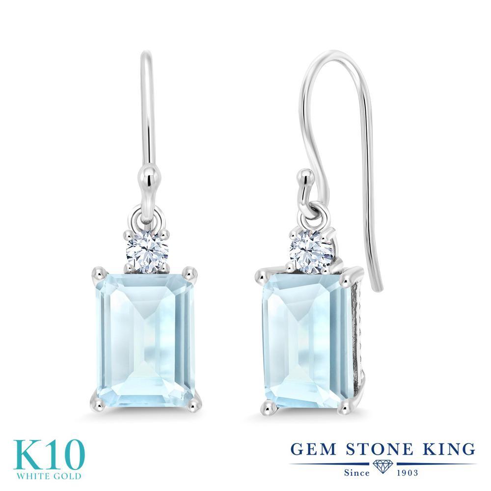 Gem Stone King 1.9カラット 天然 スカイブルートパーズ 合成ホワイトサファイア (ダイヤのような無色透明) 10金 ホワイトゴールド(K10) ピアス レディース ぶら下がり フレンチワイヤー 天然石 11月 誕生石 金属アレルギー対応 誕生日プレゼント