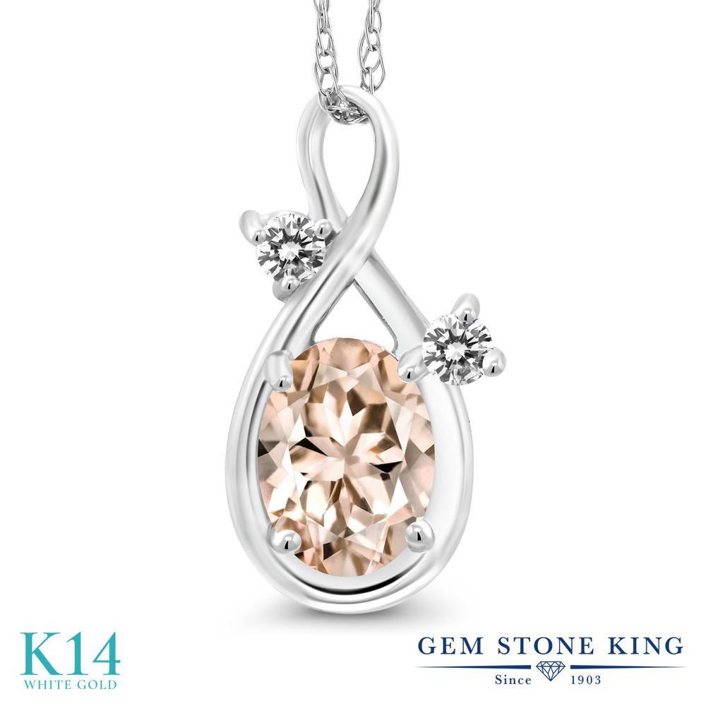 Gem Stone King 0.72カラット 天然 モルガナイト (ピーチ) 天然 ダイヤモンド 14金 ホワイトゴールド(K14) ネックレス ペンダント レディース シンプル 天然石 3月 誕生石 金属アレルギー対応 誕生日プレゼント