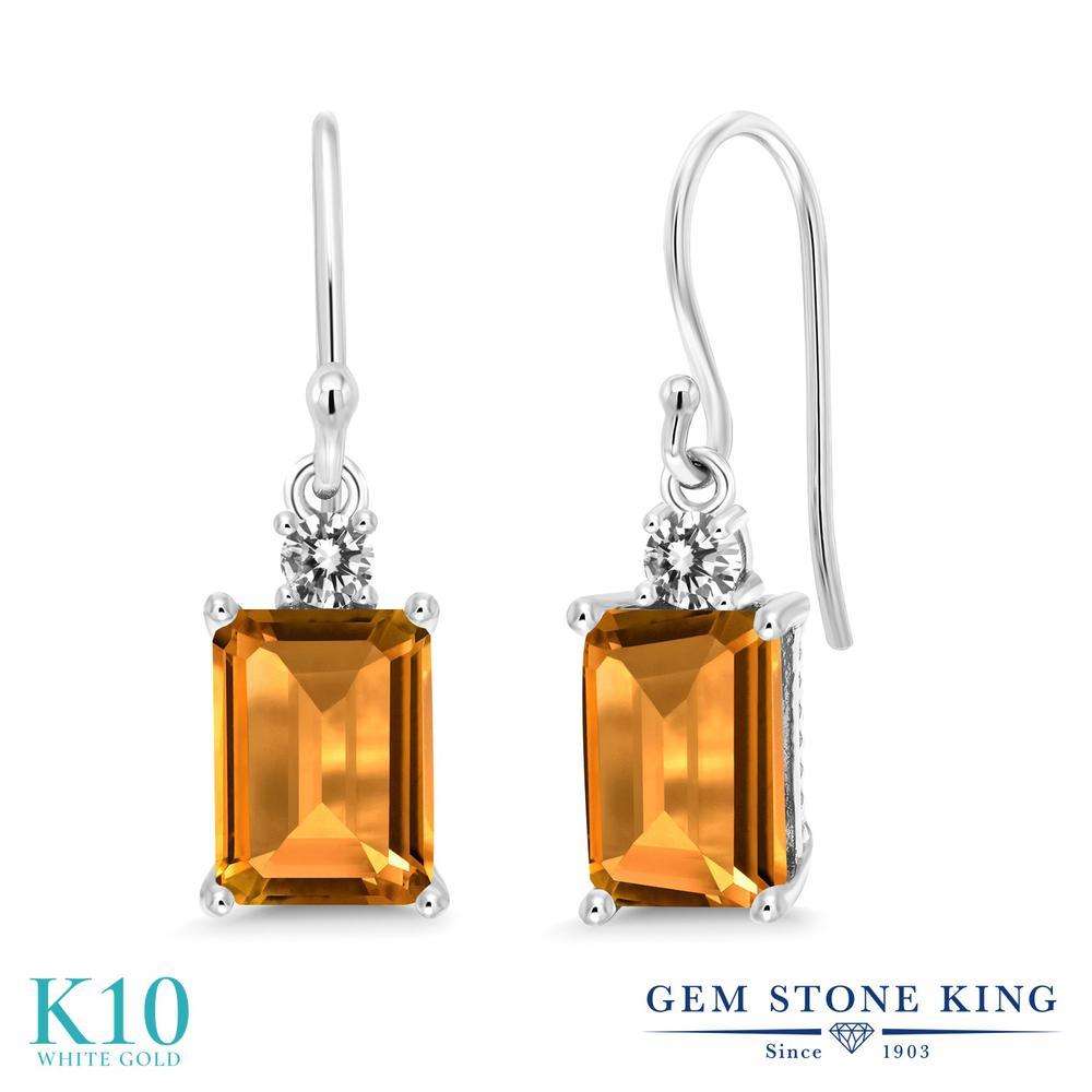 Gem Stone King 3.13カラット 天然 シトリン 天然 ダイヤモンド 10金 ホワイトゴールド(K10) ピアス レディース 大粒 ぶら下がり フレンチワイヤー 天然石 11月 誕生石 金属アレルギー対応 誕生日プレゼント