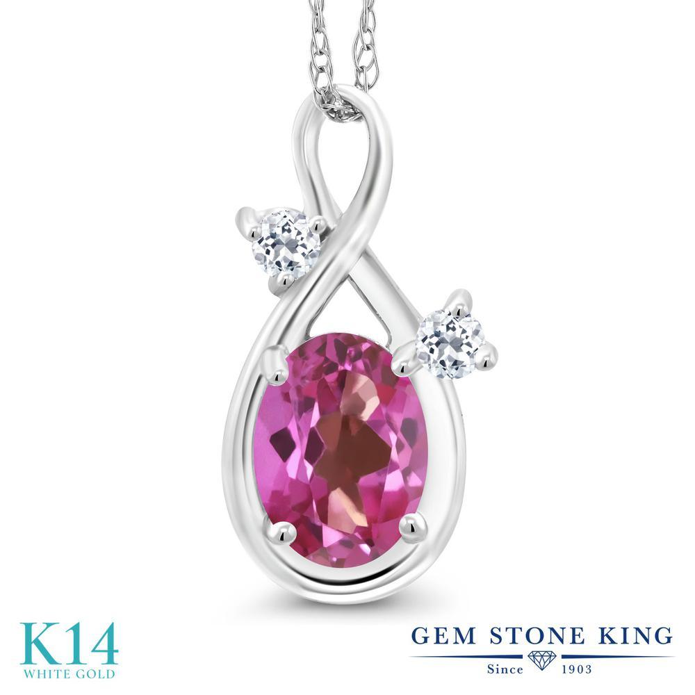 Gem Stone King 0.88カラット 天然 ミスティックトパーズ (ピンク) 天然 トパーズ (無色透明) 14金 ホワイトゴールド(K14) ネックレス ペンダント レディース シンプル 天然石 金属アレルギー対応 誕生日プレゼント