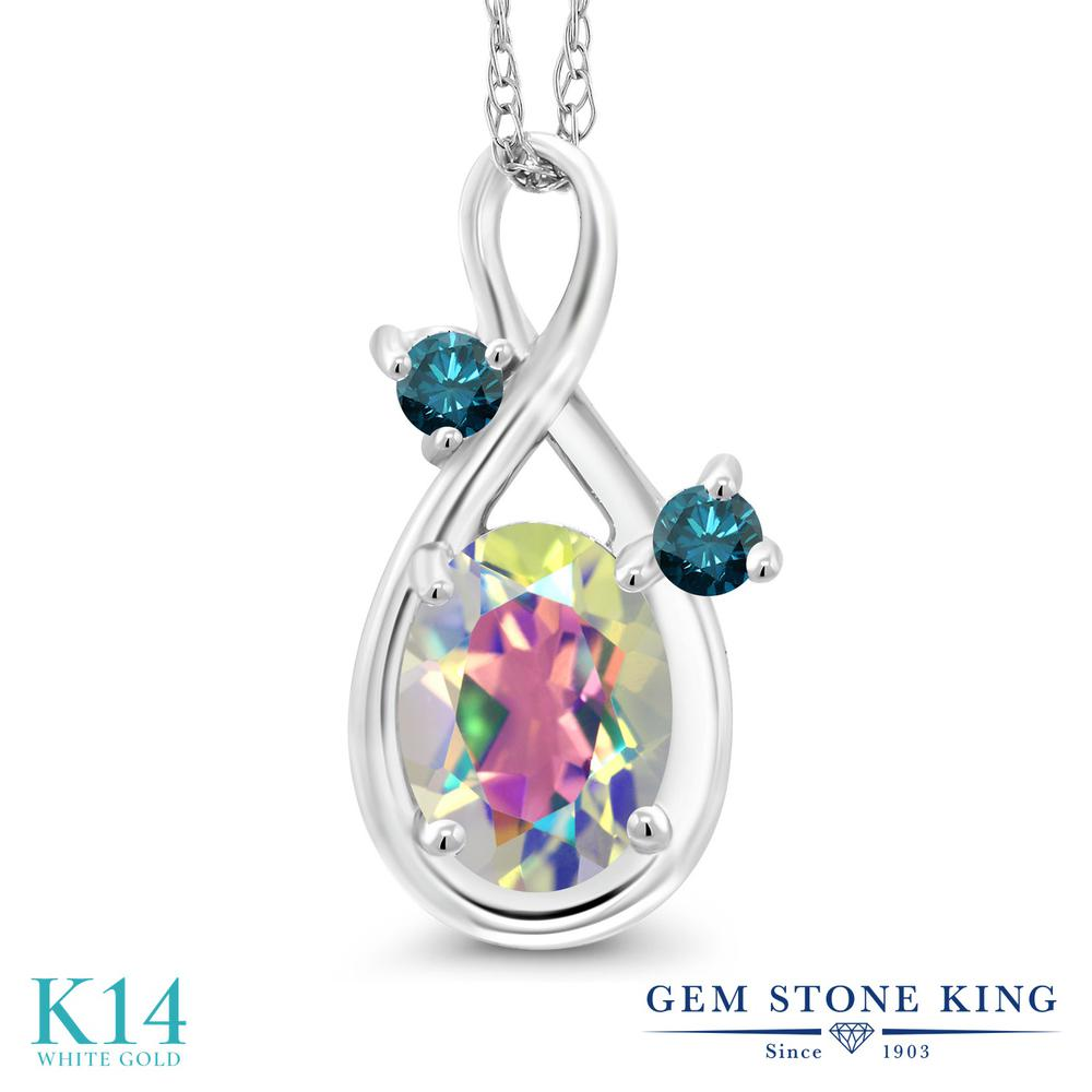 Gem Stone King 0.87カラット 天然石 ミスティックトパーズ (マーキュリーミスト) 天然 ブルーダイヤモンド 14金 ホワイトゴールド(K14) ネックレス ペンダント レディース シンプル 天然石 金属アレルギー対応 誕生日プレゼント