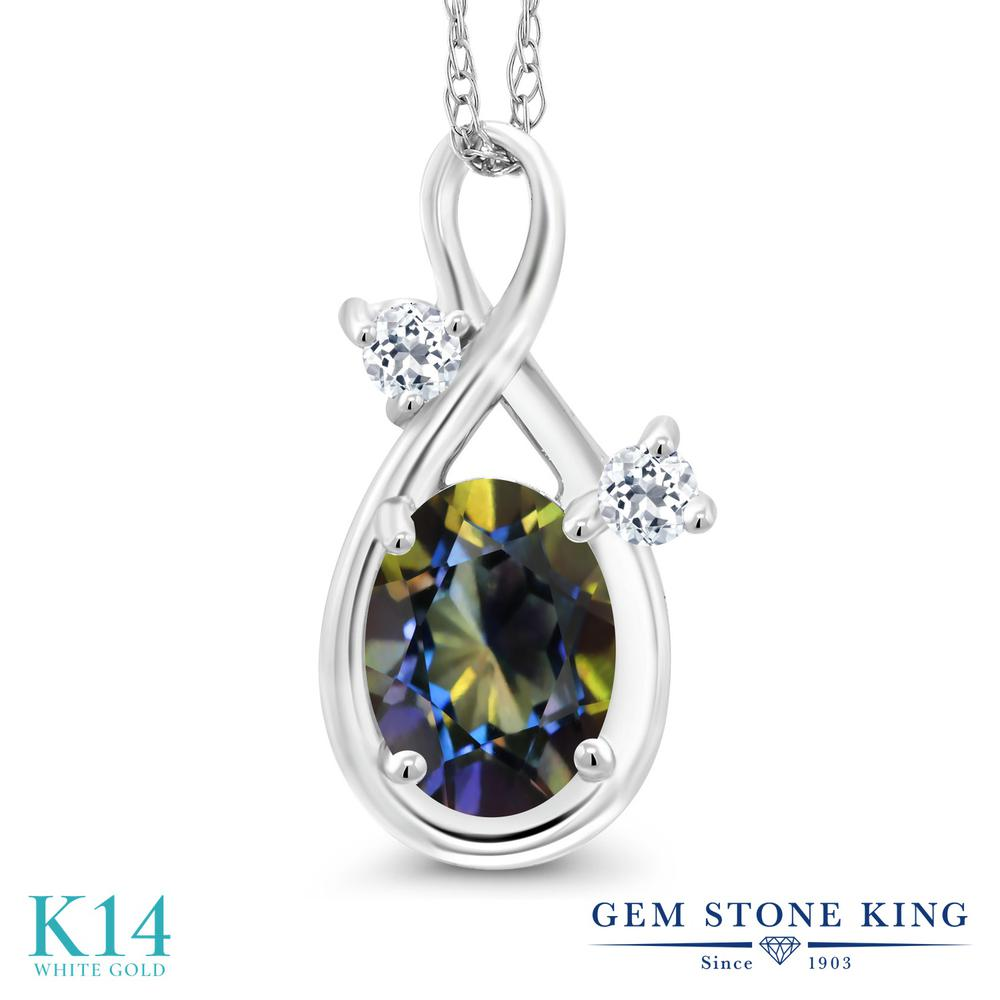 Gem Stone King 0.88カラット 天然石 ミスティックトパーズ (ブルー) 天然 トパーズ (無色透明) 14金 ホワイトゴールド(K14) ネックレス ペンダント レディース シンプル 天然石 金属アレルギー対応 誕生日プレゼント