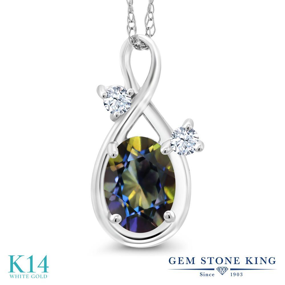 Gem Stone King 0.86カラット 天然石 ミスティックトパーズ (ブルー) 14金 ホワイトゴールド(K14) ネックレス ペンダント レディース シンプル 天然石 金属アレルギー対応 誕生日プレゼント