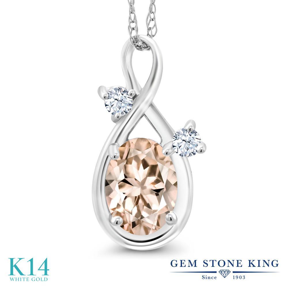 Gem Stone King 0.71カラット 天然 モルガナイト (ピーチ) 14金 ホワイトゴールド(K14) ネックレス ペンダント レディース シンプル 天然石 3月 誕生石 金属アレルギー対応 誕生日プレゼント