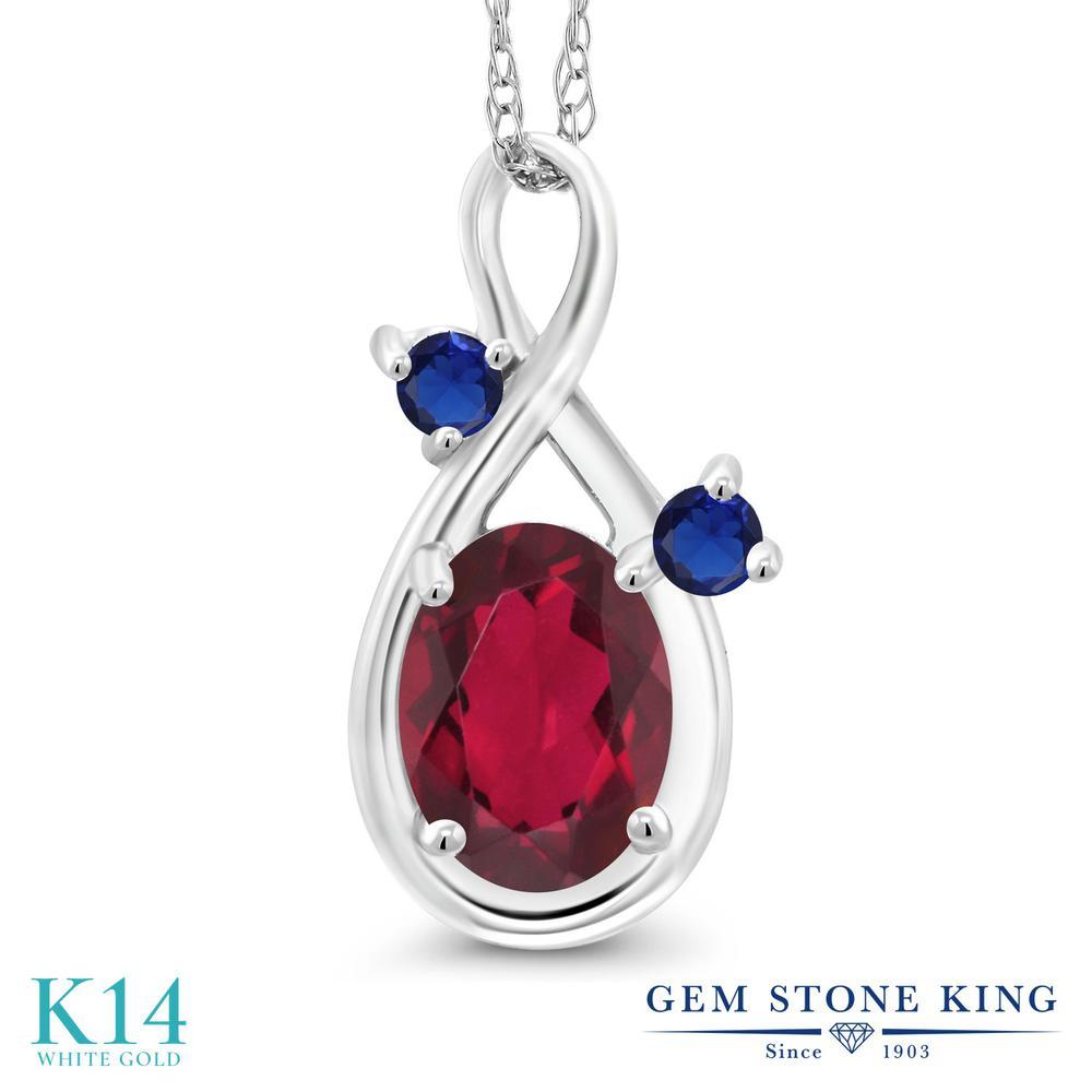 Gem Stone King 0.89カラット 天然 ミスティックトパーズ (ルビーレッド) 14金 ホワイトゴールド(K14) ネックレス ペンダント レディース シンプル 天然石 金属アレルギー対応 誕生日プレゼント