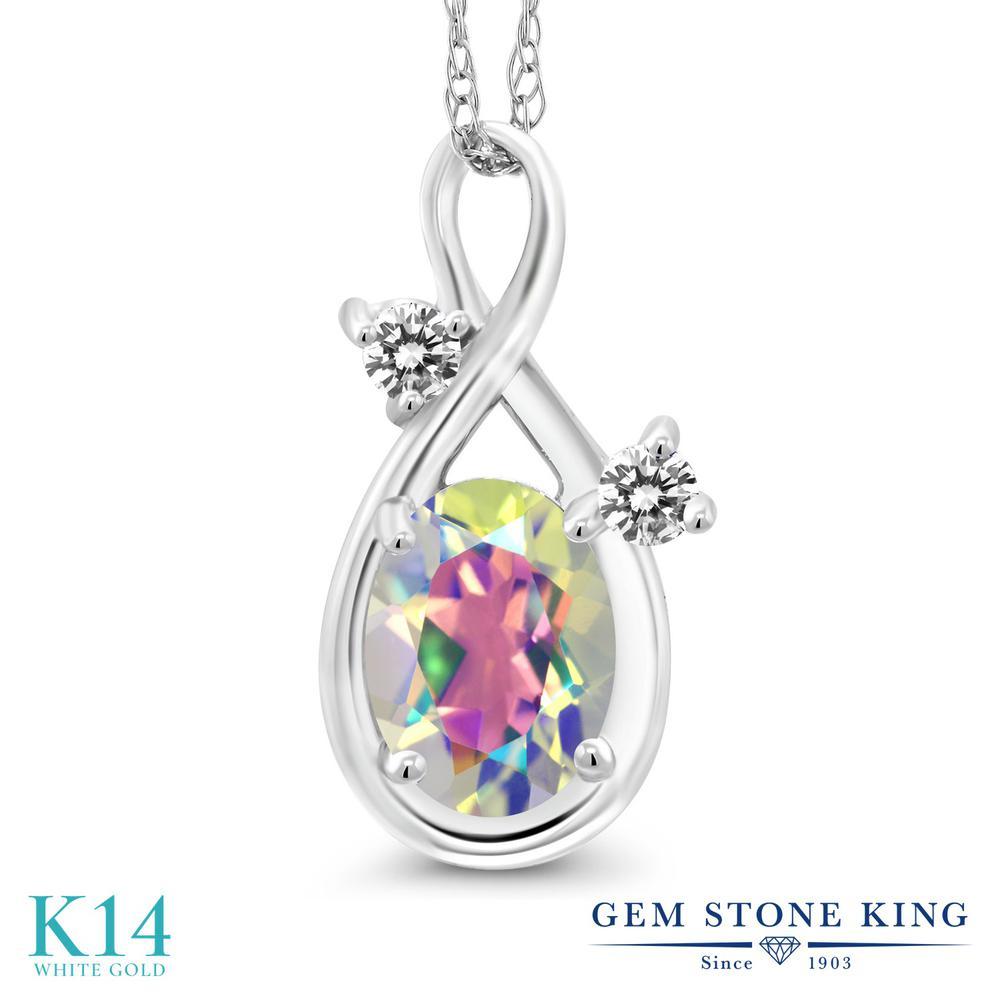 Gem Stone King 0.87カラット 天然石 ミスティックトパーズ (マーキュリーミスト) 天然 ダイヤモンド 14金 ホワイトゴールド(K14) ネックレス ペンダント レディース シンプル 天然石 金属アレルギー対応 誕生日プレゼント