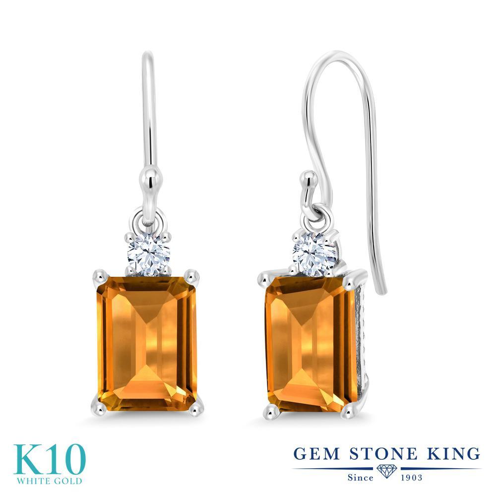 Gem Stone King 3.1カラット 天然 シトリン 合成ホワイトサファイア (ダイヤのような無色透明) 10金 ホワイトゴールド(K10) ピアス レディース 大粒 ぶら下がり フレンチワイヤー 天然石 11月 誕生石 金属アレルギー対応 誕生日プレゼント