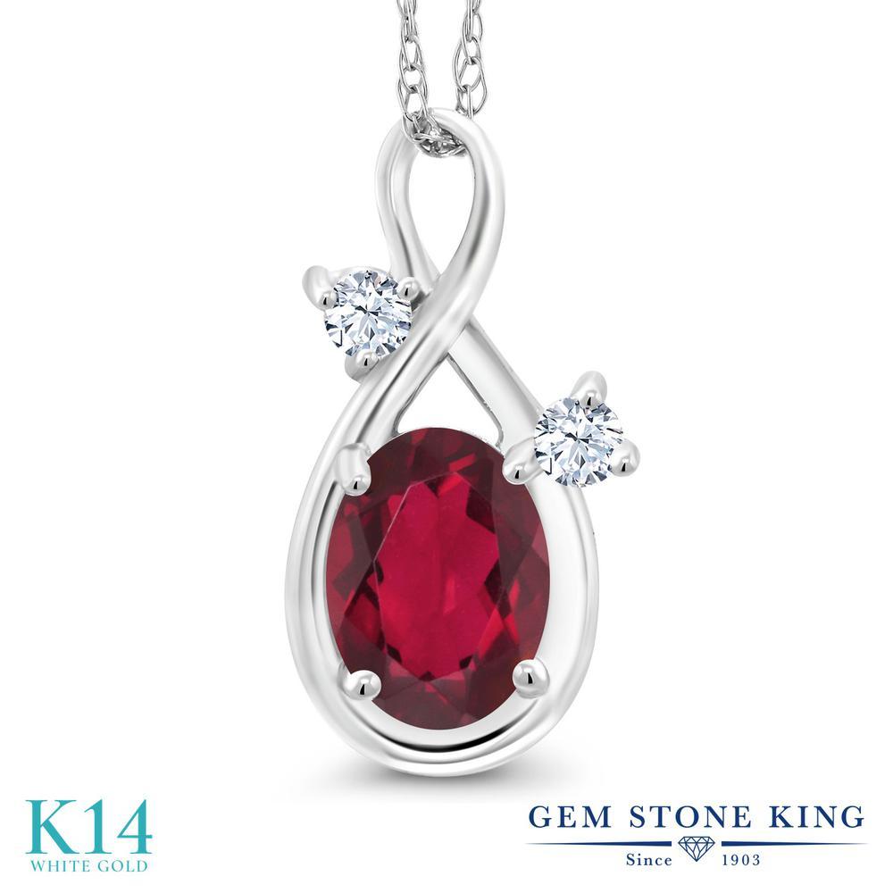 Gem Stone King 0.86カラット 天然 ミスティックトパーズ (ルビーレッド) 14金 ホワイトゴールド(K14) ネックレス ペンダント レディース シンプル 天然石 金属アレルギー対応 誕生日プレゼント