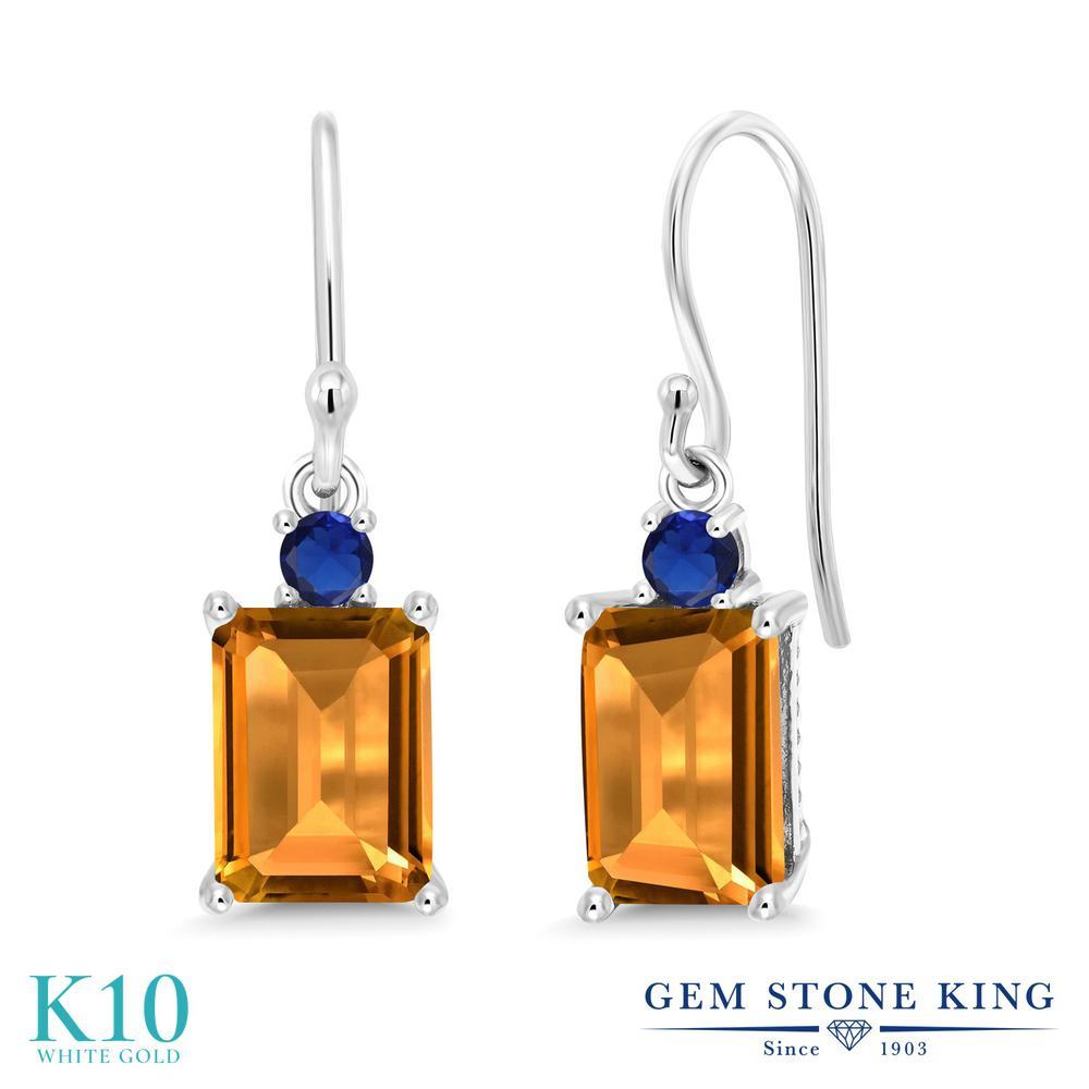 Gem Stone King 3.16カラット 天然 シトリン 10金 ホワイトゴールド(K10) ピアス レディース 大粒 ぶら下がり フレンチワイヤー 天然石 11月 誕生石 金属アレルギー対応 誕生日プレゼント