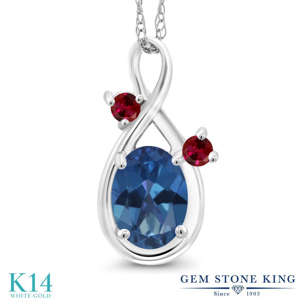 Gem Stone King 0.9カラット 天然 ミスティックトパーズ (サファイアブルー) 合成ルビー 14金 ホワイトゴールド(K14) ネックレス ペンダント レディース シンプル 天然石 金属アレルギー対応 誕生日プレゼント
