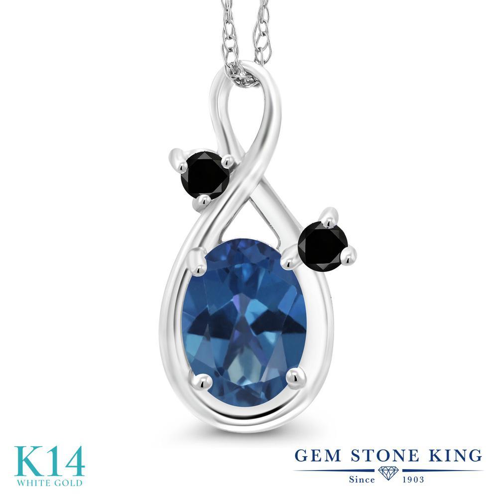 Gem Stone King 0.87カラット 天然 ミスティックトパーズ (サファイアブルー) 天然ブラックダイヤモンド 14金 ホワイトゴールド(K14) ネックレス ペンダント レディース シンプル 天然石 金属アレルギー対応 誕生日プレゼント
