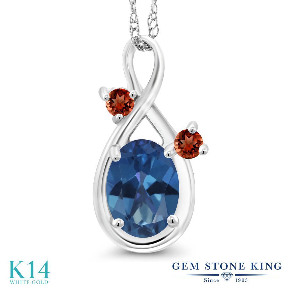 Gem Stone King 0.88カラット 天然 ミスティックトパーズ (サファイアブルー) 天然 ガーネット 14金 ホワイトゴールド(K14) ネックレス ペンダント レディース シンプル 天然石 金属アレルギー対応 誕生日プレゼント